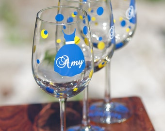 1 bridesmaids glasses, wine glasses with tank dress, polka dots, name, title and date. Personalized bridesmaid gift