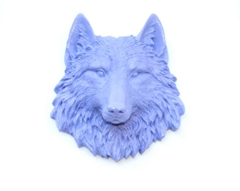 Faux Taxidermy - Miniature lavender Wolf Wall Mount - Resin Wall Decor MW23