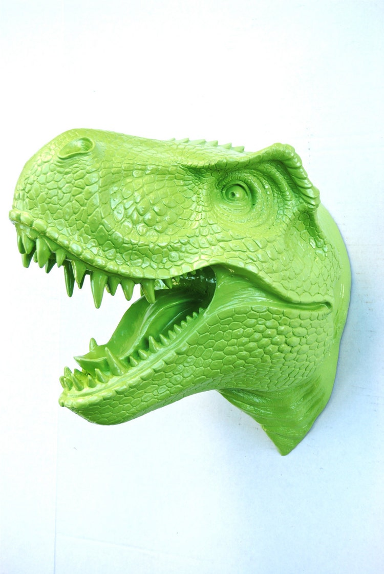 T Rex Dinosaur Head Wall Mount Green Dinosaur Faux By
