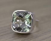 Prasiolite Silver Ring, 20ct square cushion, green amethyst cocktail ring - Candy Ring