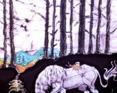 "Unicorn fabric - ""Unicorn in Woods with Fox & Bird"" -  batik art fabric  - Fabric art supply - ""The Last Unicorn"" inspired"