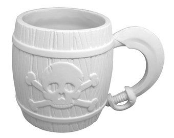 Excellent Paint it yourself PIRATE Jolly Roger Mug with cool sword handle