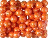 20mm - 10 PACK of Orange AB Faceted 20mm Gumball Beads, Chunky Acrylic Beads, 20mm Beads, Disco Ball Beads, 2mm Hole (R7-138)