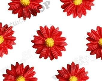 10 - Red Gerber Daisy Sunflower Resin Cabochons, Daisy Cabochon,  22mm x 7mm (R6-006)