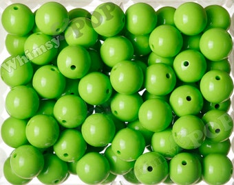 20mm - 10 PACK of Lime Green 20mm Gumball Beads, Chunky Acrylic Beads, 20mm Chunky Beads, 20mm Beads, Bubble Gum Beads, 3.5mm Hole