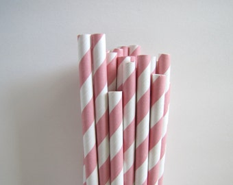 Pink Paper Straws, pink party straws, pink striped straws, with Printable paper flags.