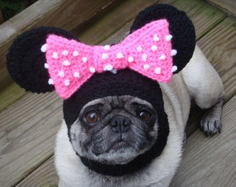 Minnie Mouse Crochet  Dog Hat  / Made To Order