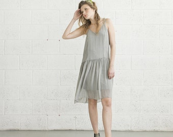 V-Neck Cocktail Dress - Light Grey.