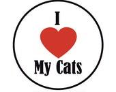 I Heart My Cats Sticker