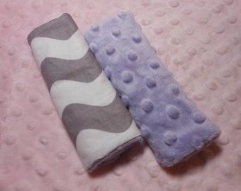 Wave Grey Infant/Toddler Reversible Car Seat Strap Covers (Choice of minky)