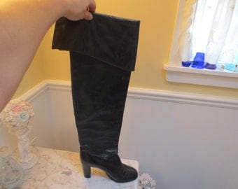 Vintage Vero Cuoio High Black Leather Boots Size 37 1/2