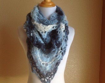 Crochet Triangular Lace Scarf Blue White Light Blue