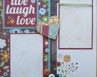 Live, Laugh, Love - Simple Stories - Double Page Scrapbook Layout