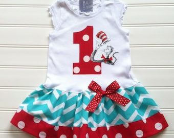 Cat and the Hat Dress Custom Dr Seuss 1st Birthday Outfit
