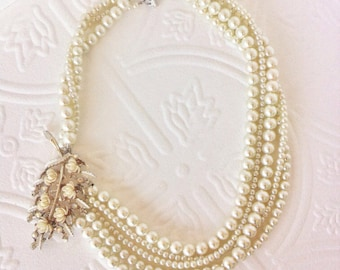 Custom Wedding Jewelry, Custom Bride Jewelry, Pearl Brooch Necklace, Bride Necklace, Vintage Jewelry, Vintage Pearl Necklace, Bridesmaid