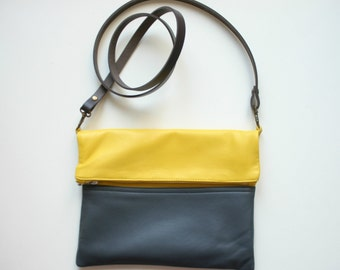 Leather every day foldover bag or clutch Colorblock Purse yellow grey