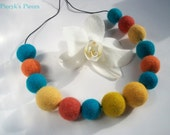 Sunny Sky - Blue Turquoise Yellow Orage Felt Beads Necklace OOAK