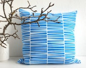 "Blue Pillow Zebraria Organic Cotton Cushion 20 x 20"" laKattun"