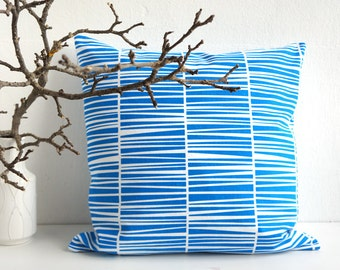 "Blue Pillow, Blue Cushion, Stripes, Organic Cotton, Cushion 20 x 20"", laKattun"