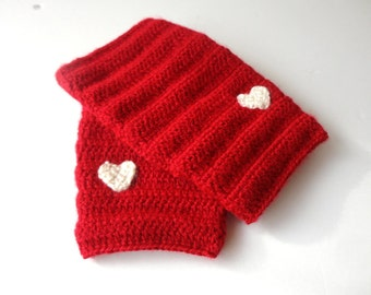 Red Heart Gloves  Hand-Knitted Fingerless Gloves Winter Accessories Womens Gloves Gifts Accessories christmas stocking /// senoaccessory