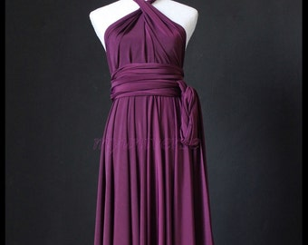Bridesmaid Dress Infinity Dress Dark Purple Knee Length Wrap Convertible Dress Wedding Dress