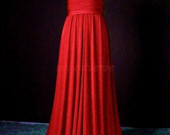 Convertible Dress Red Bridesmaid Dress Infinity Dress Wrap Jersey Formal Dress Gown Evening