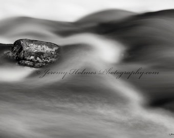Fine Art Print Black and white of a stream with rock