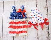 Baby 4th of July Romper - baby 4th of july outfit -girls 4th of July Outfit - Petti lace romper -Ruffle Romper - first 4th of july outfit