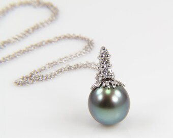 Tahitian Pearl and Diamond Necklace White Gold Dark Pearl Necklace Pearl Necklace Anniversary Necklace