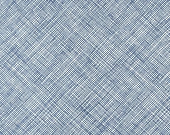 Half Yard Architextures Crosshatch in Blue, Carolyn Friedlander, Robert Kaufman Fabrics, 100% Cotton Fabric, AFR-13503-4 BLUE