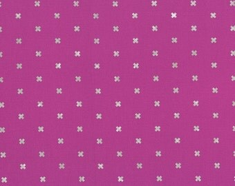 XOXO in Plummy Silver Metallic, Cotton+Steel Basics, Rashida Coleman Hale, RJR Fabrics, 100% Cotton Fabric, 5001-007