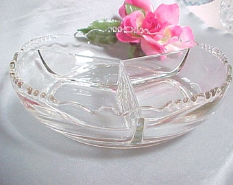 1930s Tiffin 3 Part Crystal Relish with Beaded Edge, 1940s Elegant Crystal Serving Glassware, Vintage Collectible Glass Dinnerware