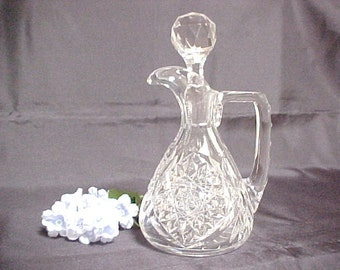 Vintage Signed Libbey Cut Glass Crystal Cruet With Stopper, Collectible Glass Serving Piece