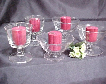 Vintage Crystal Sherbets Tea Light Candle Holders, Lot of 5 Mid Century Pressed Glass Footed Desserts, Wedding or Shower Decor