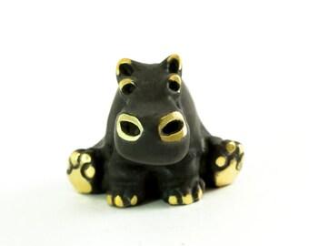 "Walter Bosse Hippo - Brass ""Black Gold"" Sitting Hippopotamus Figurine — ""Nilpferd"""