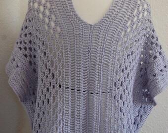 Crochet Tunic Blouse Poncho Wisteria Pima Cotton/Modal from beech size Medium