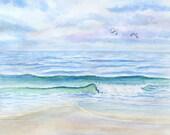Ocean Beach Original Watercolor Painting blue green violet