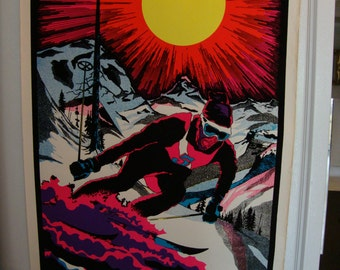 "SALE  Vintage Original ""The Skier""  Blacklight  Flocked Poster"