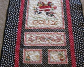 Santa's in Poka Dots Christmas Throw Quilt