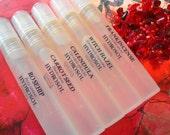 Organic Skin Care Hydrosol Sampler - Calendula, Frankincense, Carrot Seed, Witch Hazel, Rosehip - Organic Hydrolat - Easy Carry, 8 ml Sprays