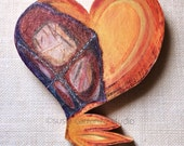 """Mixed Media Wood Heart - """"Wounded"""". Wood, Coffee-dyed Papers.  Susie Carranza Studio."""