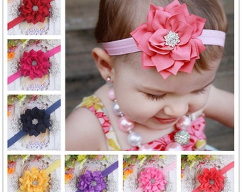 Set of 12 fabric headband infant flower headband-girls hair bands - baby headband  - flower hairband - children headband 12 colors to choose