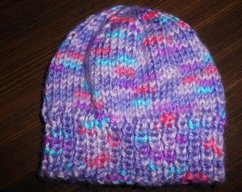 Baby Hat Newborn Preemie Hand Knit Multi Color Purple Pink Turquoise  Baby Shower Gift