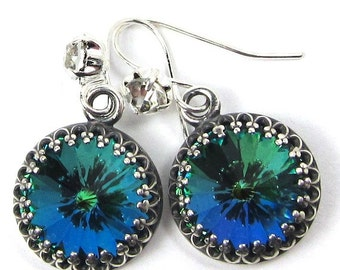 Green Sphinx Swarovski Crystal Earrings with Lots of Sparkle