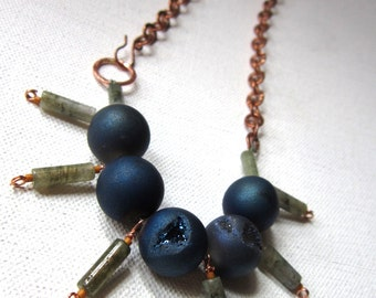 Azure - Blue Druzy Agate, Labradorite, Hammered Solid Copper Chain and Clasp - OOAK Necklace