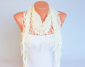 Fringed lace scarf ,triangle lace scarf , guipure scarf,woman scarf,peach,plain cream