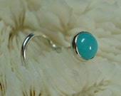 AMAZONITE, 4mm, nose jewelry, nose stud, septum ring, nose screw, blue, birthstone, sterling silver