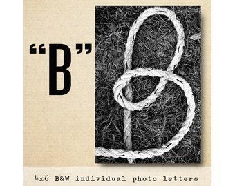 Letter B Alphabet Photography Black and White 4x6 Photo Letter UNFRAMED