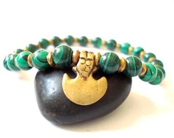 Heart Chakra Bracelet, Green Jade, Brass Charm, Bracelet for Healing, Meditation, Yoga