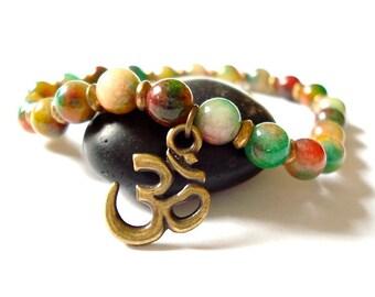 Om Yoga Bracelet, Rainbow Aventurine, Beaded Bracelet for Yoga or Meditation